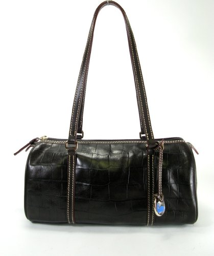 Dooney &#038; Bourke Nile Leather Barrel Bag (Dark Brown)