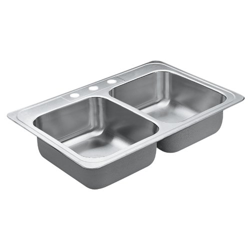 Moen 22866 Excalibur 3 Hole Stainless Steel 22 Gauge Double Bowl Drop In Sink, Stainless