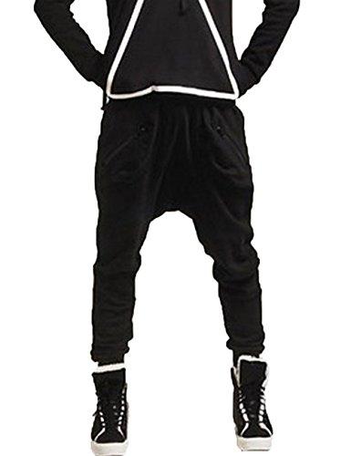 Men Casual Pants Harem Baggy Jogging Hip Hop Dance Sport Trousers (Us M(Tag Xl), Black)
