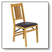 Wood Foldable Dining Chairs with Vinyl Seat