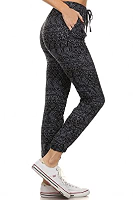 Sassy Apparel Womens Trendy Aztec Print Jogger Pants with Drawstring and Pockets