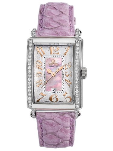 Gevril Women's 7248RE.10C Pink Mother-of-Pearl Genuine Alligator Strap Watch