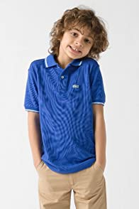 Boy's Short Sleeve Tipped Colored Croc Pique Polo