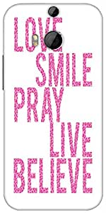 Snoogg Live Believe Designer Protective Back Case Cover For HTC M8