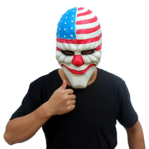 CreepyParty Deluxe Novelty Halloween Costume Party Latex Payday2 Clown Head Mask