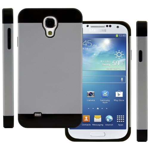 Celljoy Hybrid Tpu 2Pc Layered Hard Case Rubber Bumper For Samsung Galaxy S4 Siv (At&T / Verizon / Us Cellular / Sprint / T-Mobile / Unlocked) [Celljoy Retail Packaging] (Silver Gray / Black)