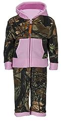 Infant Camo Two Piece Fleece Jacket & Pants Set, 12-18 months, pink