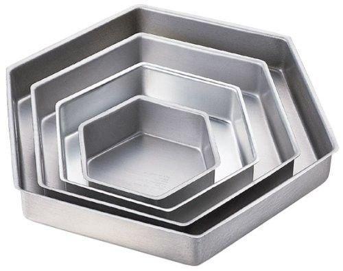 New Wilton HEXAGON SHAPED 4 SET wedding Cake Tin Baking Pan insert instructions
