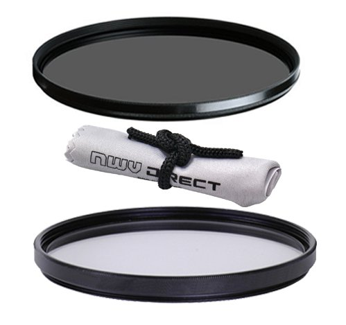 Vivitar High Grade 67mm UV (Skylight 1A) Filter, Vivitar High Grade 67mm Circular Polarizing Filter, & Nwv Direct Microfiber Cleaning Cloth.