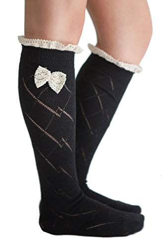 Bow Boot Socks Women's Lace Crochet Boot Socks Black By Modern Boho