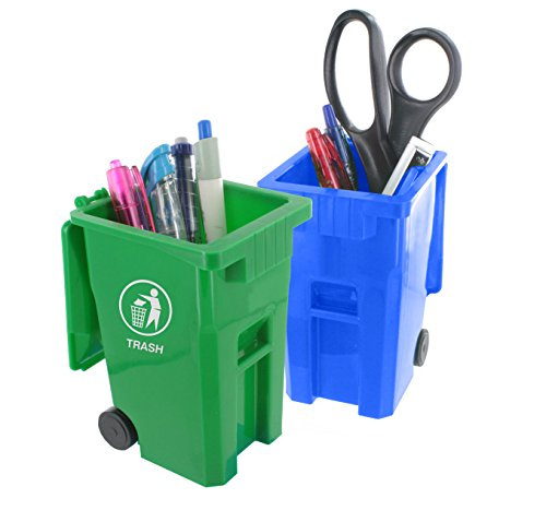 Mini Curbside Trash and Recycle Can Set Pencil Cup Holder