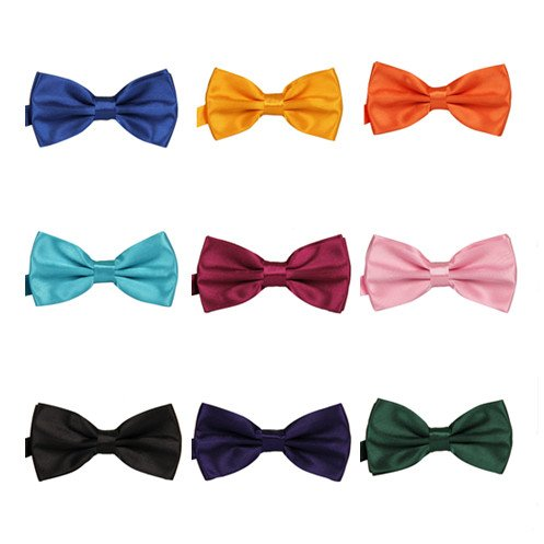 TANGDA Men Solid Tuxedo Satin Polyester Bow Tie BowTies - Black