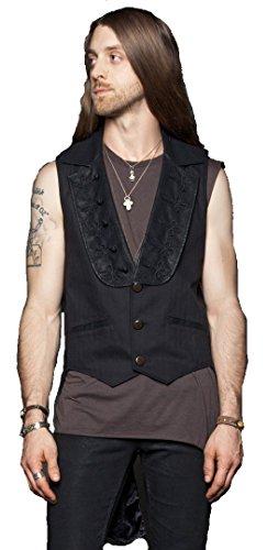 Lip-Service-Stage-Coat-Tailcoat-Vest-Black-Herringbone-faux-Leather-Trim