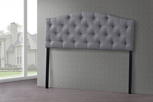 Wholesale Interiors Baxton Studio Myra Modern and Contemporary Fabric Upholstered Button-Tufted Scalloped Headboard, Full, Grey (Full Bed With Tufted Headboard compare prices)