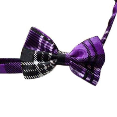 Toptie Wholesale 10 Pc Kid'S Solid Pre-Tied Bow Ties Black Purple Plaid Bowties