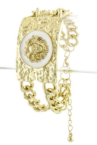 Trendy Fashion Jewelry Lion Face Plate Bracelet By Fashion Destination | (White)