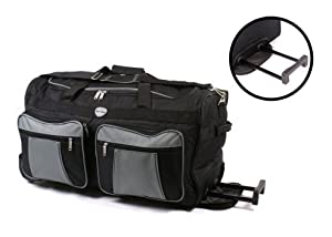 26 Large Blackgrey 2 Wheeled Holdall - Travel Bag Big Suitcase With Wheels