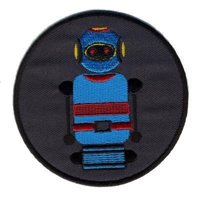 "Freak Scene® Aufnäher°Sticker°Patch°Bügelbild ""Roboter"" Farbe: grau/blau"