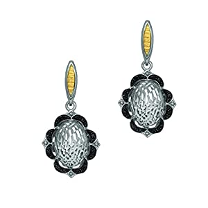 18k Yellow Gold & Sterling Silver Rock Crystal with 0.24ct Black Diamonds Floral Design Drop Earrings