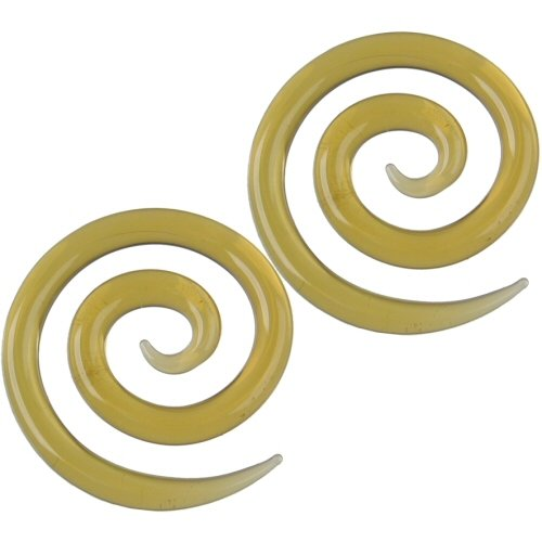 Pair of Glass Super Spirals: 4g Honey