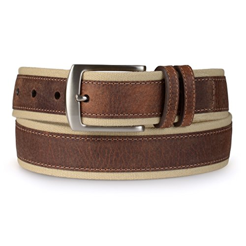Nautica Mens Casual Leather Overlay Canvas Belt
