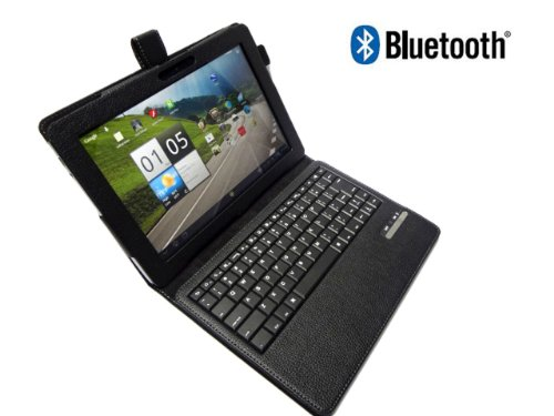 Acer A200 Bluetooth Leather Case With Detachable Wireless Bluetooth Keyboard For Iconia A200 10.1 Tablet By Gsastore™ - Black (Tablet Not Included)