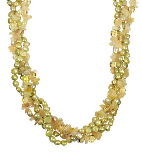 Olive Green Fresh Water Pearl, Olive Green Faceted Cut Glass Bead and Lemon Opal Chip with Gold Tone Shortener Twister Necklace