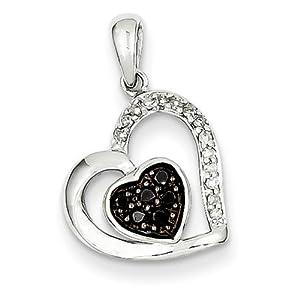 IceCarats Designer Jewelry 14K White Gold Black White Diamonds Pendant