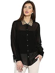 Ladybug Womens Oversized Shirt with Sequinwork on Collar - Black