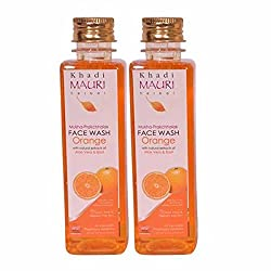 Khadi Mauri Orange Face Wash Pack of 2 Herbal Natural Ayurvedic 250 ml each