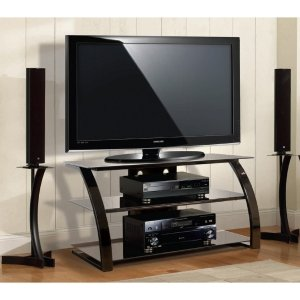 Image of Bell'O PVS-4204HG A/V Equipment Stand. BLACK FINISH TV STAND THFURN. Up to 46' Screen Support - 100 lb Load Capacity - 3 x Shelf(ves) - 22' Height x 42' Width x 18' Depth - Powder Coated - Metal, Glass - Gloss Black (ITE-DQ3963-INGM|1)