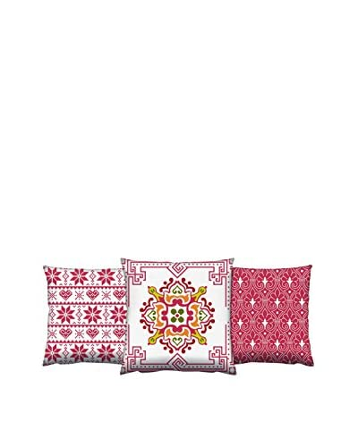 Gravel Set of 3 Abstract Moroccan Print Throw Pillows, Rust/White