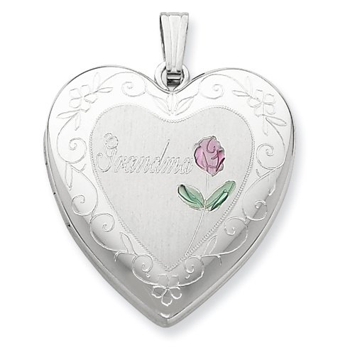 Sterling Silver 24mm Enameled & D/C Grandma Heart Locket