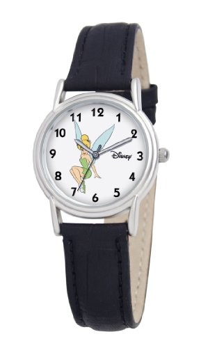 Disney Women's D092S005 Tinker Bell Black Leather Strap Watch