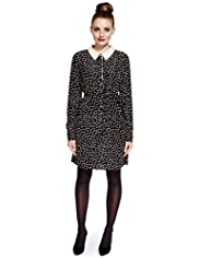 Limited Edition No Peep™ Pearl Effect Embellished Collar Spotted Shirt Dress