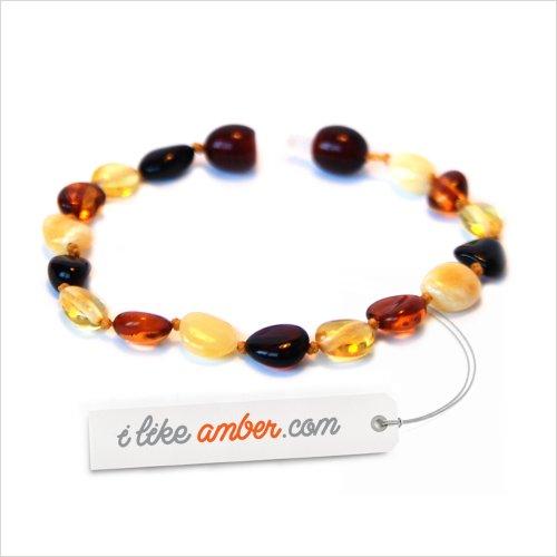 15-16cm Genuine Baltic Amber Teething Bracelet Anklet - Child Baby size - Multicolor Bean shape Beads
