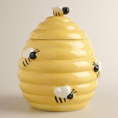 Whimsical Yellow and Black Beehive Design Ceramic Cookie Jar w/ Bee Lid Handle