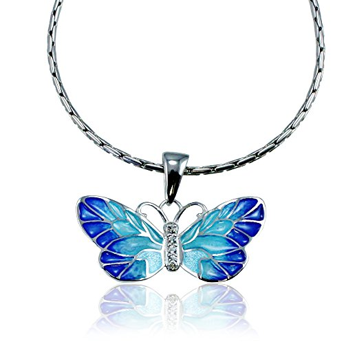 "Guy Harvey Enameled Butterfly Pendant Crafted in Sterling Silver with an 18"" Adjustable Necklace Chain"
