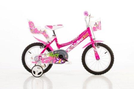 DINO CITY Bikes 166RN 16 pouce, Bicicleta de niño, Kidsbike , bicicleta, bicicleta del niño , la bici, velocípedo , bicicleta , ciclismo fucsia, estabilizadores, guardabarros, confrecito, asiento doll, • 16 pulgadas 4-7 años 105-135cm 47-55cm elevación del asiento