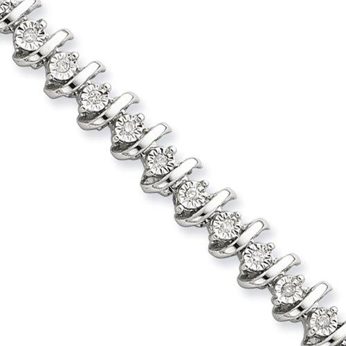 Diamond S Link Tennis Bracelet in Sterling Silver -7 inch