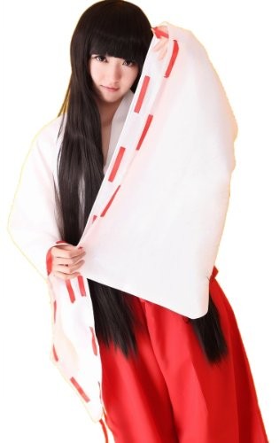 定番 巫女さん コスプレ 衣装 / 犬夜叉 桔梗 巫女 一式フルセット おまけ付き(下駄・足袋) XLサイズ