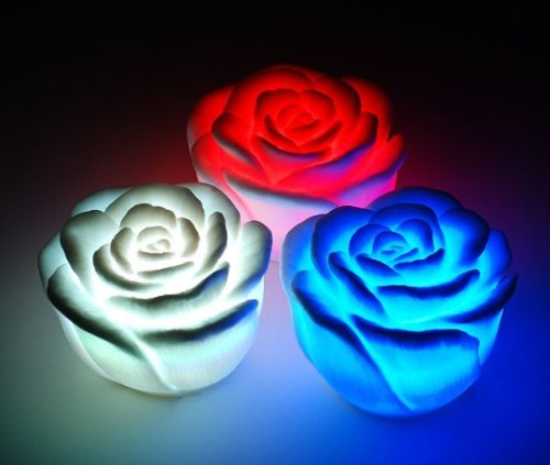 Novelty Mini Cute Charming Changing 7 Color Led Rose Party Candle Light Lamp