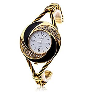 Soleasy New Fashion Women's Bangle Wrist Watch Quartz Gold-black Wth0204