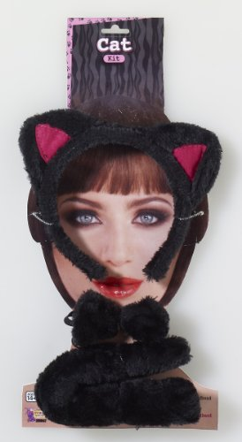 Animal Costume Accessory Kit Adult: Black Cat