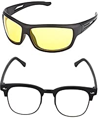 Shara UV Protected Wrap Night vision and Club master unisex sunglasses set of 2 combo -( yellow & Transparent lens)(SHA/SUNGLASSES/NVYCLUBT)
