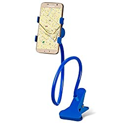 "Advent Basicsâ""¢ Universal Long Arms Flexible Lazy Mobile Stand Holder Support all Mobiles Wide Less Than 90mm For Your Bed Desk Table Multipurpose phone mount with mounting clip - Blue"