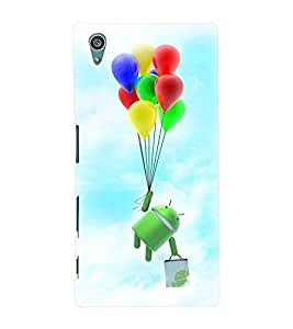 Printvisa Cartoon Hanging On Multicoloured Baloons Back Case Cover for Sony Xperia Z5::Sony Xperia Z5 Dual