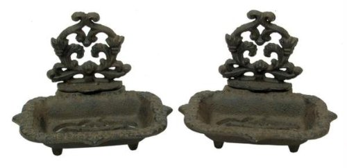 Cast Iron Old Style Victorian Soap Dish Set Of 2 front-23871