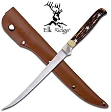 Elk Ridge Stainless Steel 12quot Fish Filet Knife Simulate Bone Handle Fishing 146