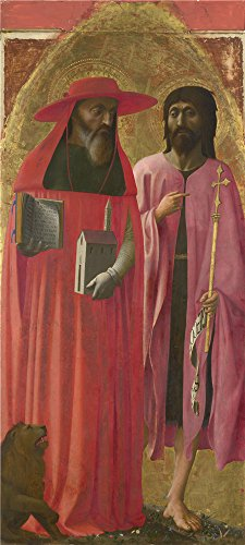 The polyster Canvas of oil painting 'Masaccio Saints Jerome and John the Baptist ' ,size: 30 x 67 inch / 76 x 169 cm ,this High Resolution Art Decorative Prints on Canvas is fit for Study decor and Home artwork and Gifts